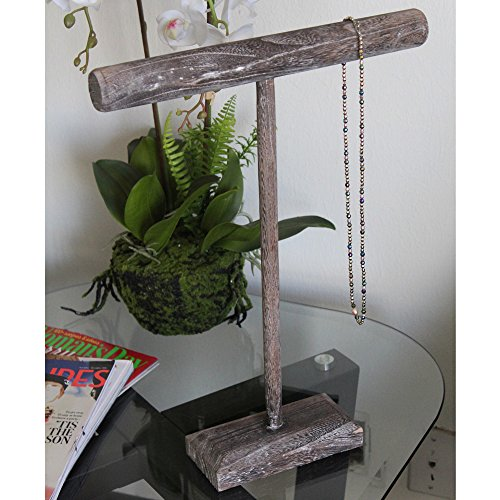 Ikee Design Antique Wooden Handmade Tall T-Bar Jewelry Display Stand - Coffee by Ikee Design (Image #4)
