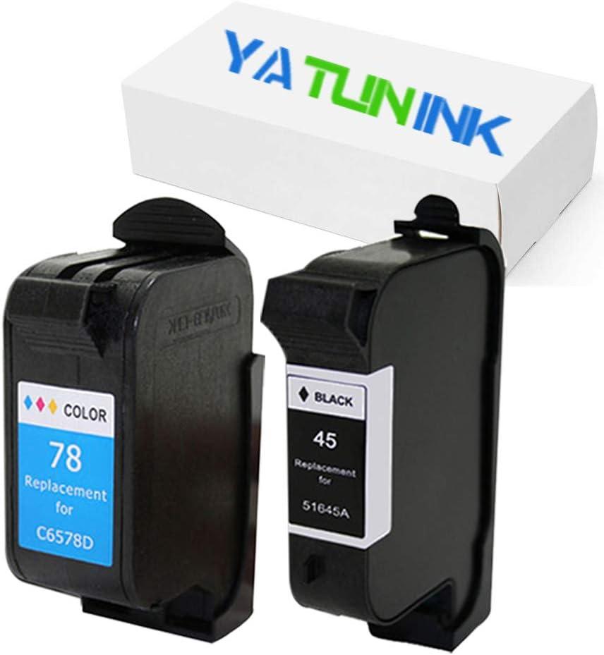 YATUNINK Remanufactured Ink Cartridge Replacement for HP 45 78 Ink Cartridge 51645A C6578DN (1 Black 1 Color) for Deskjet 6127 Deskjet 960 Deskjet 995 Series Printer(2 Pack)