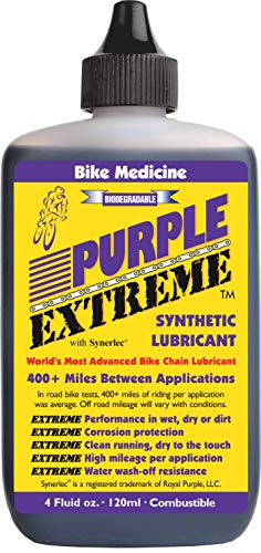 - Bike Medicine Purple Extreme Performance Synthetic Chain Lubricant, High Mileage Bicycle Lube