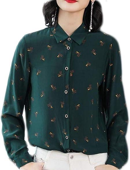 DAFREW Camisas de Mujer Primavera y Verano Camisa Delgada Ocasional Floja Moda Camisa Delgada Camisa Floral Solapas Camisa de Manga Larga (Color : Verde, Tamaño : L): Amazon.es: Hogar