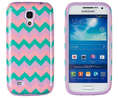 DandyCase 2in1 Hybrid High Impact Hard Aqua Pink Purple Chevron Pattern + Silicone Case Cover For Samsung Galaxy S4 Mini i9190 + DandyCase Screen Cleaner