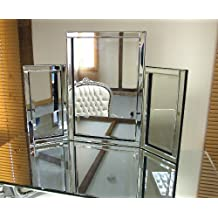 Dressing Table Mirror Modern Clear Venetian Tri-Fold Free Standing Bedroom by Barcelona Trading