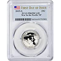 2019 S Clad Proof War in the Pacific National Historical Park Guam National Park NP Quarter PR 69 DCAM First Day of Issue PCGS