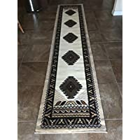 South West Native American Runner Area Rug Ivory Design D143 (2ft4in.X10ft11in.)