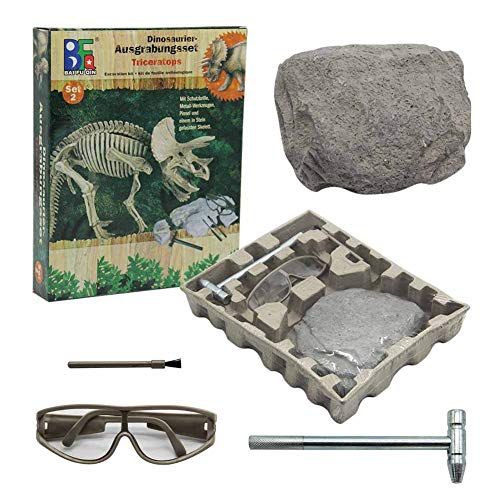 winemana Dinosaur Excavation Kit for Kids, Dino Fossil Dig Kits Dinosaur Skeleton for Children's Excavation Science Education DIY Toys (Triceratops)