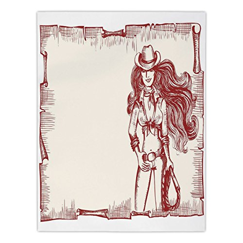 iPrint Satin Rectangular Tablecloth [ Western,Sexy Young Cowgirl with Lasso Old Paper Style Background Hairstyle Vintage Frame,Ruby White ] Dining Room Kitchen Table Cloth Cover ()