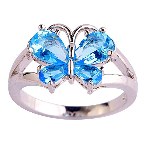 White Pear Zircon - Veunora 925 Sterling Silver Created Pear Cut Blue Topaz Filled Gorgeous Butterfly Ring for Women Size 11