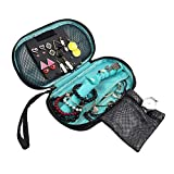 Jewelry Travel Bag - DesignSter Portable Elegant Jewelry Organizer Case Earring, Necklace Display Storage Pouch (Green)