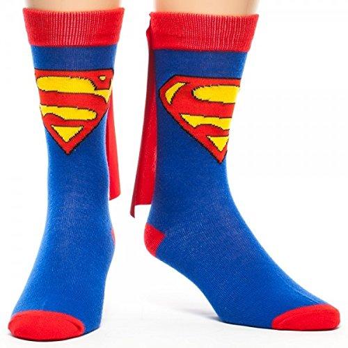 DC Comics Cape Crew Socks (Superman), Blue, One - Cape Socks