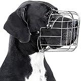 BronzeDog Metal Wire Basket Dog Muzzle Great Dane Leather Adjustable Large (XL)