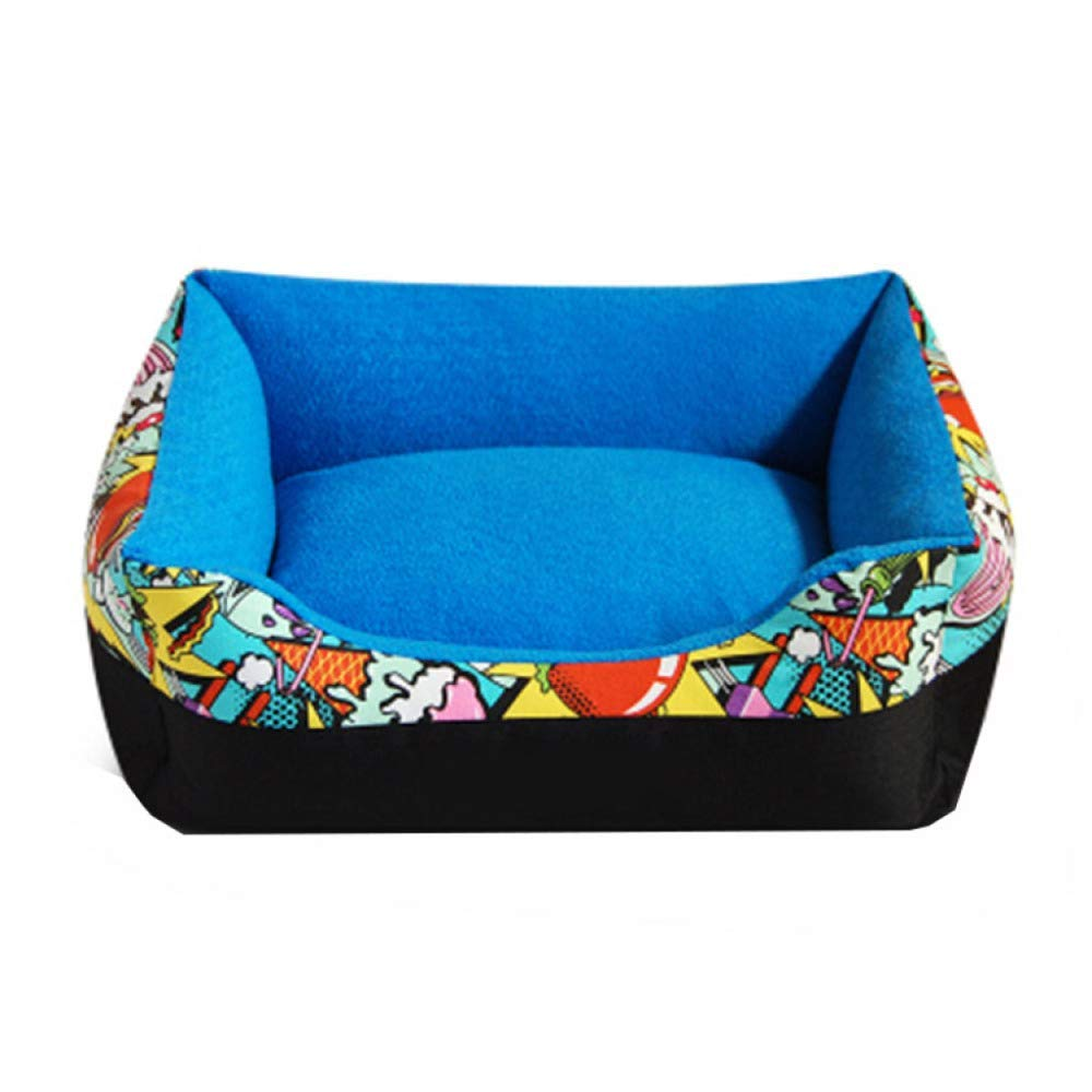 bluee 5874cm bluee 5874cm Pet Bed Dog House Removable and Washable Dog Mattress Four Seasons Universal Bite Resistant Dog Bed (color   bluee, Size   58  74cm)