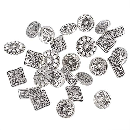 Buttons Metal Flower (XGuangage Mixed Antique Silver Color Flower Metal Buttons Pack of 50pcs)