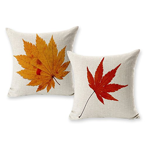 TOOL GADGET Autumn Leaf Decoration Pillow Cases Fall Maple Leaves Decorative Throw Pillow Covers, 2 Packs Cotton Linen Houseware,18x18 Model B, Square Cushion Cover for Sofa, Couch, Bed and Car