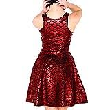 Womens Mermaid Dress Sexy Sleeveless Fish Scales Dress Bodycon Rockabilly Dress Colorful Sleeveless (Red,US 12-14=XXL)