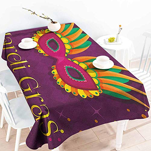 EwaskyOnline Spill-Proof Table Cover,Mardi Gras Festival Mask Design on Purple Backdrop with Stars and Colorful Dots,Party Decorations Table Cover Cloth,W54x72L, Purple Orange Green