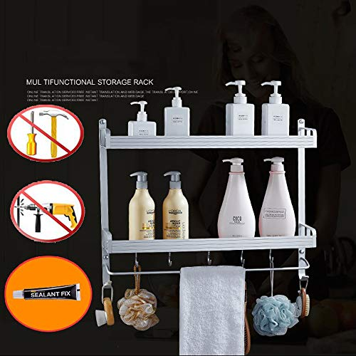 2 Layer Space Aluminum Bathroom Corner Shelf Shower Caddy Shampoo Soap Cosmetic Storage Basket Kitchen Spice Rack Holder Organizer with Towel Bar and Hooks (Rectangle-Double) ()