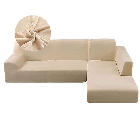 SurfMall Funda de Sofa de Felpa Elástica Chaise Longue Brazo Largo Derecho Funda Cubre Sofá Modelo Acolchado Diseñada de Forma L Protector para Sofá ...