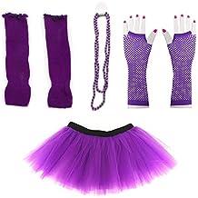 Dreamdanceworks 80s Fancy Costume Set - Tutu & Leg Warmers & Fishnet Gloves & Beads