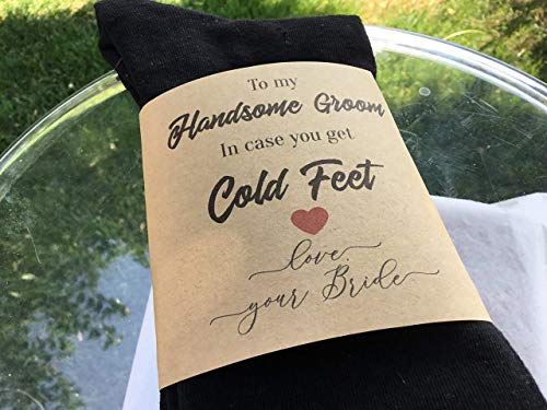 To My Handsome Groom, In Case You Get Cold Feet, Black Socks and Wrapper, Wedding Socks, Gift For the Groom, Socks Fit Shoe Size 6-12 ()