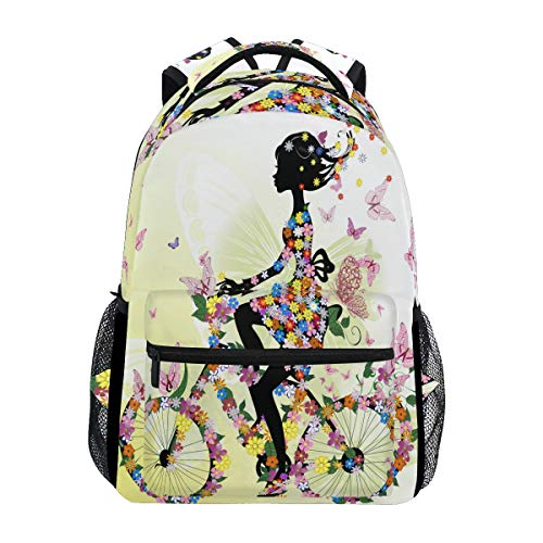 Price comparison product image MOFEIYUE Romantic Bicycle Flower Butterfly Girl Backpacks College School Bag Shoulder Casual Travel Daypack Hiking Camping