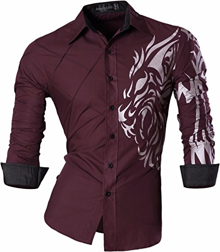 Jeansian Hombre Moda Long Sleeves Button Down Vestido Camisas Slim Fit Casual Shirts Top Z030 WineRed