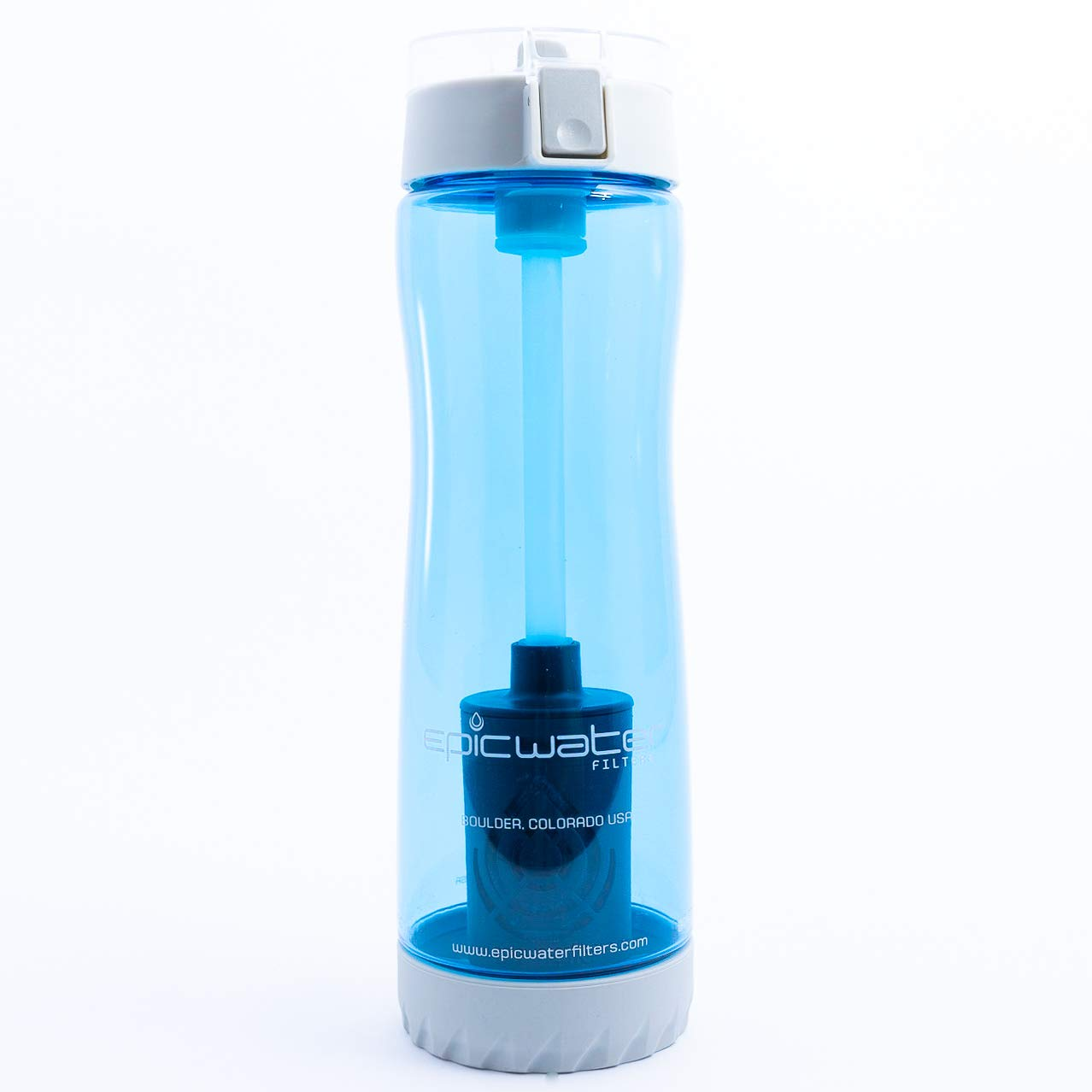 Eco-Tritan | Water Filtration Bottle | Blue | 25 oz 740 ml | 100 Percent BPA & BPS-Free | Includes 1 Urban Filter to Remove Lead, Cysts, PFA, Fluoride, Chromium 6 and More