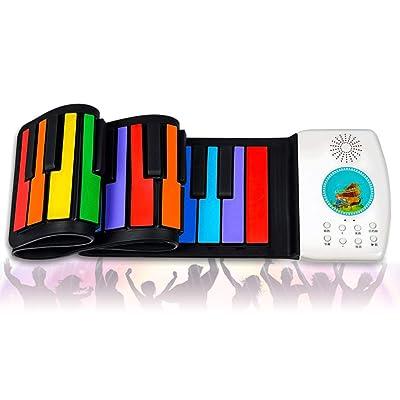 @Y.T Rodillo de Mano Piano 49 Teclas portátil niños Color Piano,B: Hogar