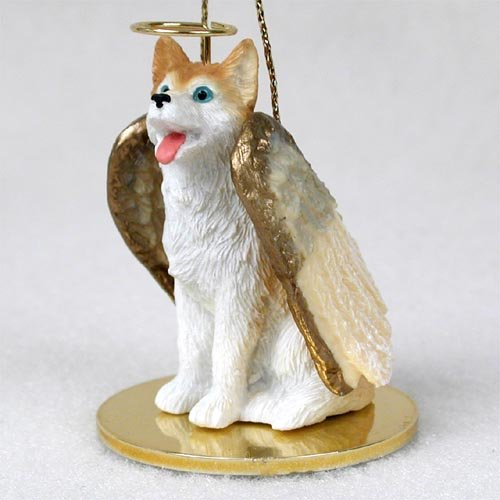 Husky Angel Dog Ornament - Red & White