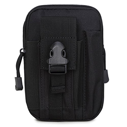 ZhaoCo Multi-Purpose Poly Tool Holder, EDC Pouch Camo Bag Military Nylon Utility Tactical Waist Pack Camping Hiking Pouch with Cell Phone Holster Holder For iPhone 7 Plus - Black
