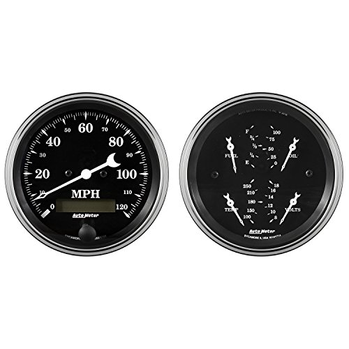 AutoMeter Auto Meter 1700 Gauge Kit, 2 Pc, Quad & Speedometer, 3 3/8