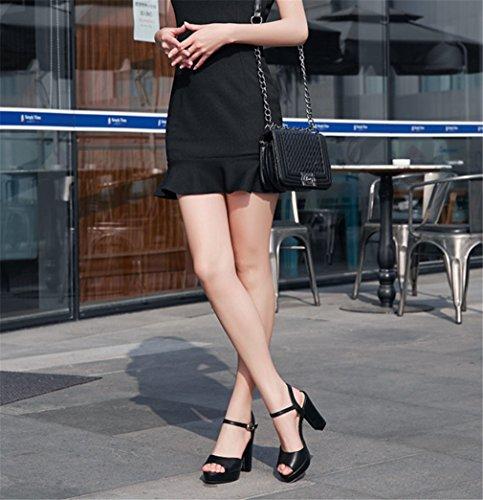 Party Fish Black Donna In Da Alti Donna Fashion Impermeabile Wild EU37 Mouth Con Fashion Pelle Solid Tacchi BIANJESUS Color Sandali Scarpe Platform Da Grezzo HqnzAYB