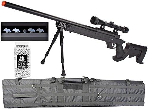 A&N Airsoft Sniper Rifle Bundle Set - MB04 Well Airsoft Sniper Rifle with Bipod and Scope 460 fps - Airsoft Knock Down Target - Airsoft 130CM Sniper Bag - Bulldog 0.25g 2000a Airsoft bbs by A&N