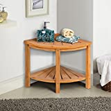 Corner Shower Beach Bamboo Spa Seat Stool Bathroom Organizer w/Storage Shelf