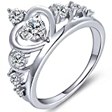 YL Women's Silver Queen Heart Crown Ring Anniversary 925 Sterling Silver Cubic Zirconia-size 6