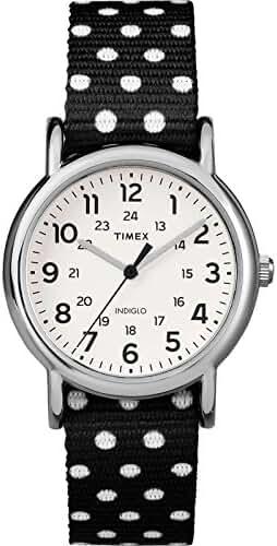 Timex TW2P87100 Weekender Women's Analog Steel Watch Polka Dot Reversible Nylon Strap