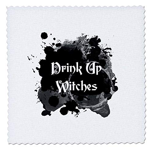 3dRose InspirationzStore - Occasions - Drink Up Witches - witch brew Halloween witchs potion black ink splat - 22x22 inch quilt square (qs_317318_9) -