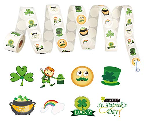 St Patricks Day Leprechauns - St. Patrick's Day Roll Stickers (500 Piece)-Shamrock/Leprechaun/Hat/Lucy- Party Favors Decorations
