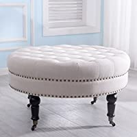 Tufted Ottoman Round Room Indoor Home Decor Seating Coffee Table Beige + FREE E-Book