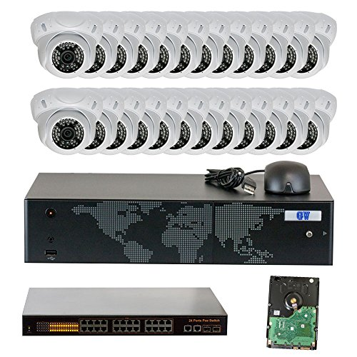 GW Security 32 Channel 4K NVR 1920P IP Camera Network POE Video Security System - 24 x 5.0 Megapixel (2592 x 1920) Weatherproof Dome Cameras, Quick QR Code Easy Setup, Pre-Installed 8TB Hard Drive