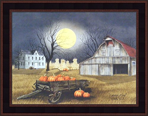 Harvest Moon by Billy Jacobs 15x19 Primitive Farm Barn Pumpkins Full Moon Corn Shocks Wagon Framed Print Picture ()