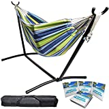 BACKYARD EXPRESSIONS PATIO · HOME · GARDEN 914920 Two Person Hammock with Stand + Relaxing Audio Track and Luxury Carrying Case, 106' L x 47' W x 43' H, Ocean Stripes