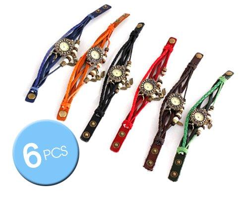 Wholesale Lot of 6 Pcs Vintage Leaf Style Women Weave Wrap PU Leather Band Quartz Analog Charm Bracelet Wrist Watches