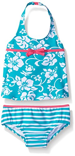 (Tommy Bahama Girls' Infant Two Piece Floral Tankini, Mint, 18M)