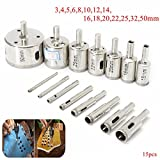 Best to Buy New 15pcs 3-50mm Diamond Hole Saw Drill Bit Set For Tile Ceramic Glass Porcelain Marble c-cut tools hole saw tempered glass drill bit non-arbored arbored coping sea press dremel kit