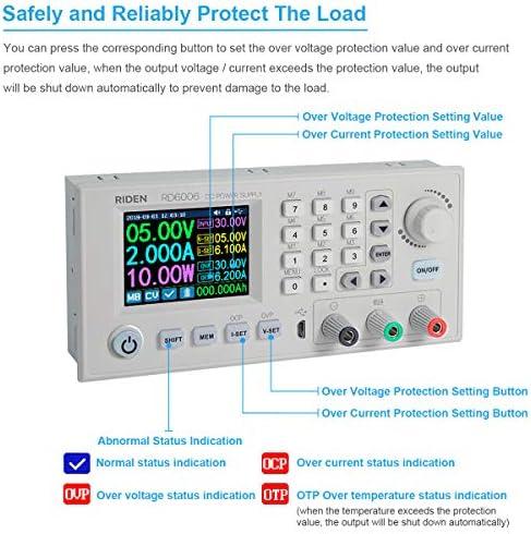 Caja de fuente de alimentaci/ón de CC Variable Banco de laboratorio ajustable Fuente de alimentaci/ón Convertidor reductor Interruptor descendente 30V 60V 12A