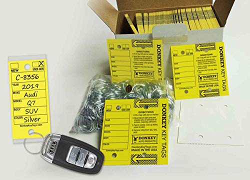Donkey Key Tags, Laminated Self-Protecting (250 Tags Per Box with Metal Rings) (Yellow) (Key Vinyl Tag)