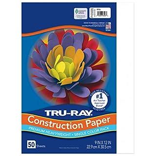 "Tru-Ray Heavyweight Construction Paper, White, 9"" x 12"", 50 Sheets"