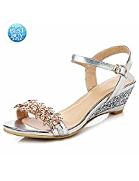 Wedge Sandals Women Leather Open Toe Low Heel Comfort Dress Shoes Sexy Rhinestone Wedding Bridal Sandals Gold Silver