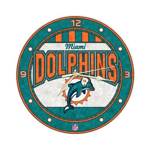 Miami Dolphins 12 Inch Art Glass Clock ()