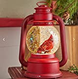 Red Lighted Lantern with Cardinal Bird in Continuous Swirling Glitter Snowglobe Decor, 9.5 Inch, Battery Operated